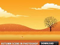 Free Autumn Scene PSD Template