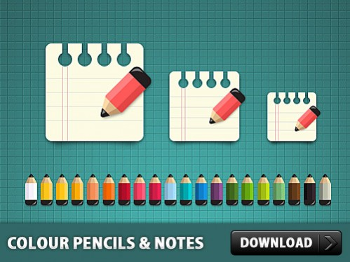 Free Color Pencils with Notes Icon PSD