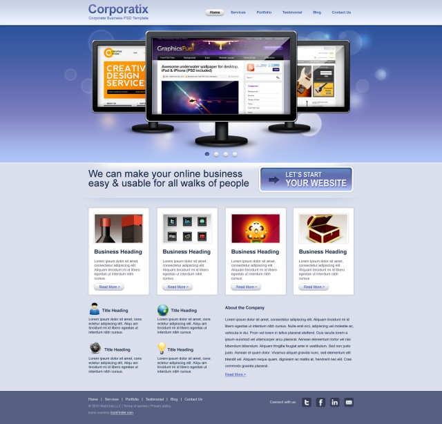 Free Clean Corporate/Business website PSD