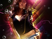 Abstract Dance Girl Free PSD Template