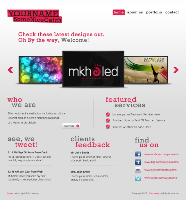 A Clean and Free Website Layout PSD