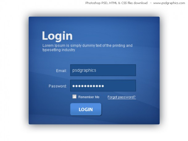 Blue Login Box Free PSD Template with HTML & CSS
