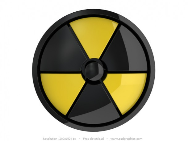 3D Radiation Sign PSD Free Icon
