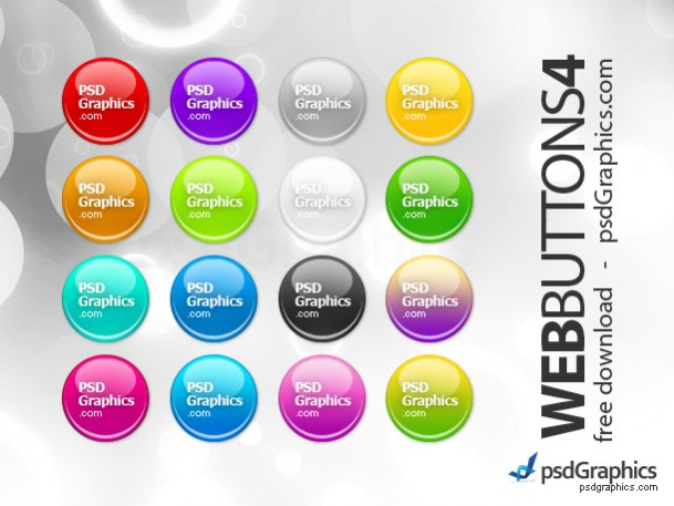 Free Round Web Buttons Set PSD