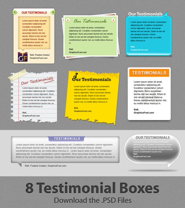 Attractive Client Testimonial Boxes Free PSD