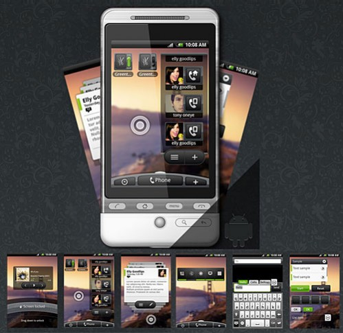 Free Android Phone PSD Template With GUI
