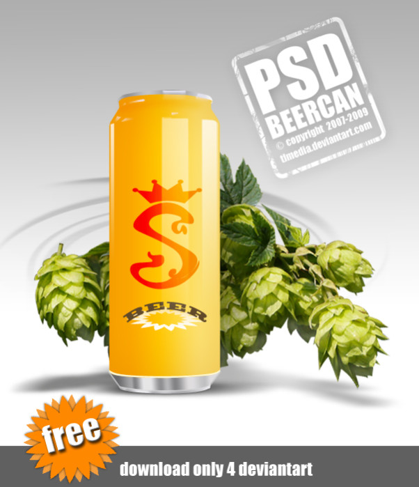 Free Beer Can PSD Template