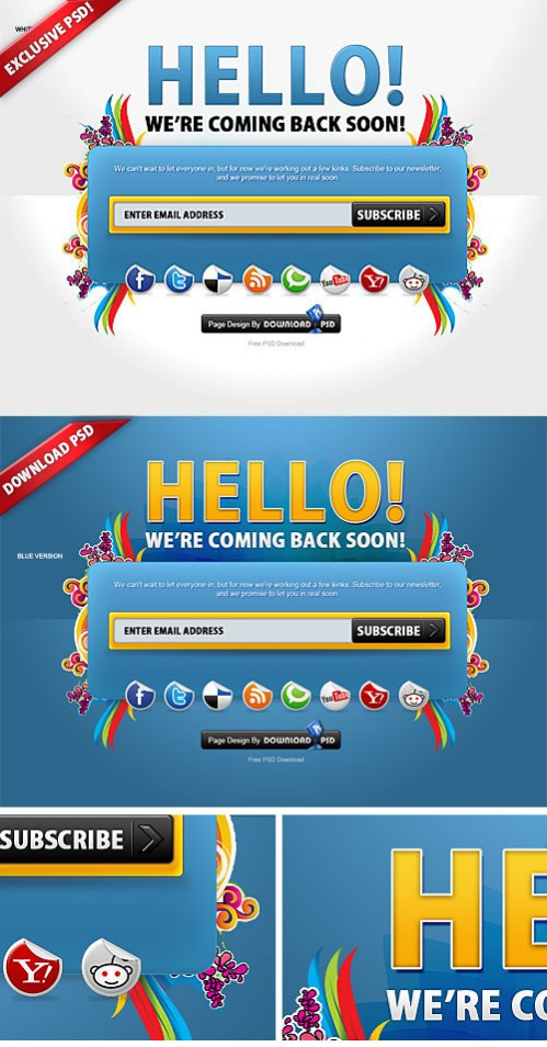 Free Colorful Coming Soon Page PSD Template