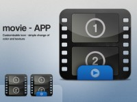 Glossy Black Movie Strip Icon PSD