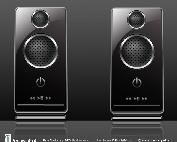 Black Shiny Twin Speakers Free PSD