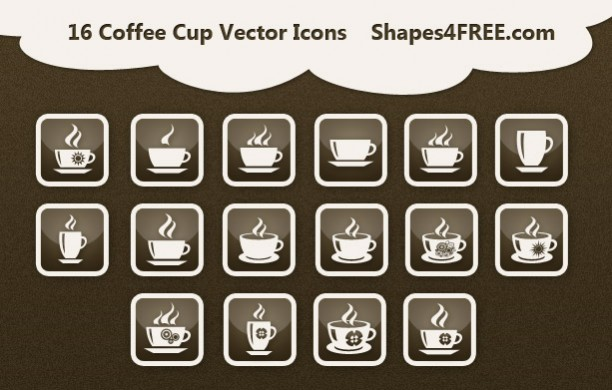Vector Coffee Cup Icons PSD