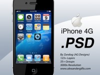 Free Apple iPhone 4G Black PSD