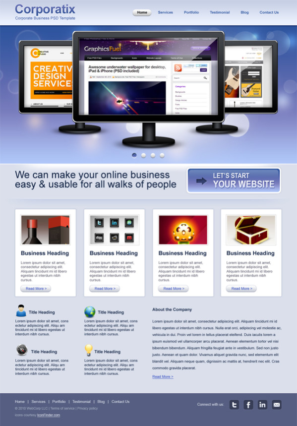 Free Monitor Graphic PSD Template