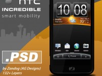 HTC Incredible Smartphone PSD Template
