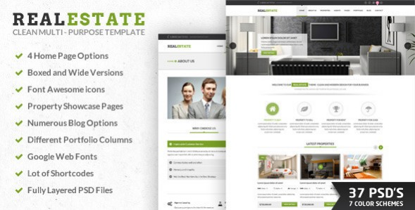 RealEstate, Multipurpose PSD Template