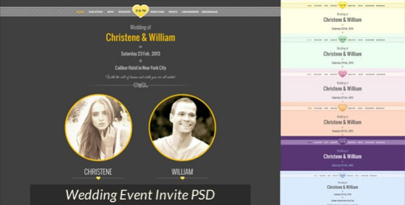 Wedding Event Invite PSD Template